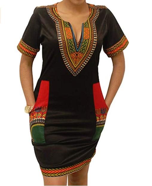 Women's Dashiki African Midi Dresses Bohemian Vintage Club Pocket1